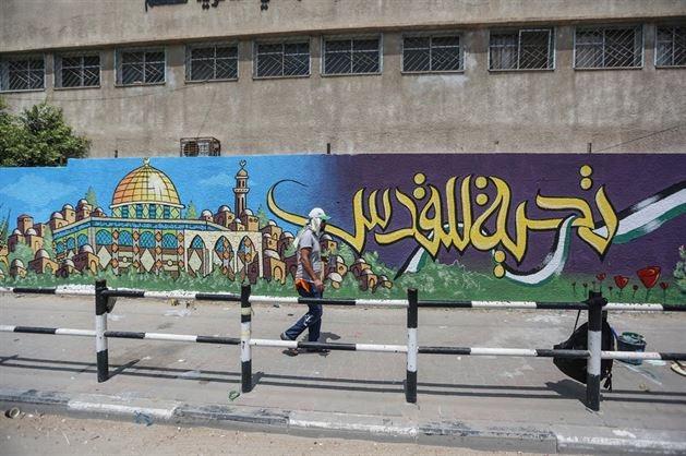 Duvar resimleriyle Mescid-i Aksa'ya destek mesajı galerisi resim 1