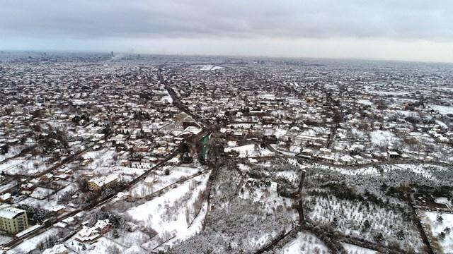 Konya'da kar manzarası havadan görüntülendi galerisi resim 1