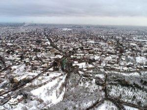 Konya'da kar manzarası havadan görüntülendi