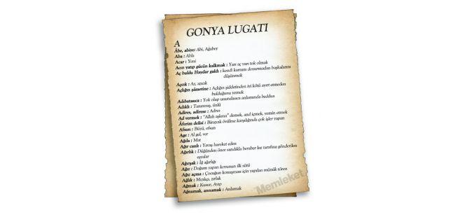 Gonya'nın lugatı