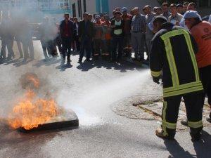 Beyşehir'de sağlık personelinin yangın tatbikatı