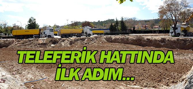 Konya'da teleferik hattında ilk adım...