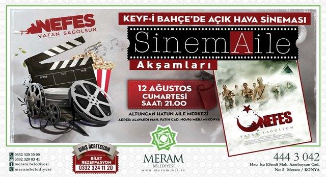 Meram'da açık hava sineması etkinlikleri Keyf-i Bahçe'de 'Nefes' izlenecek