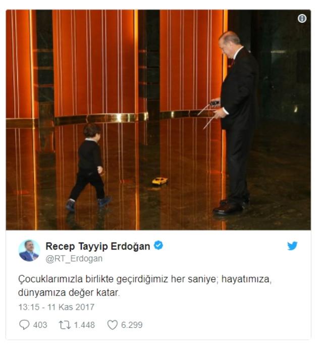 Erdoğan, Torunuyla Olan Fotoğrafını Paylaşıp...