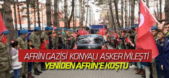 Afrin gazisi Konyalı asker  silah arkadaşlarının yanına dualarla uğurlandı