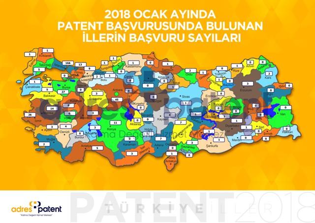 Türkiye patent haritası açıklandı Konya 7'inci sırada