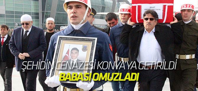 Şehidin cenazesi Konya'ya getirildi