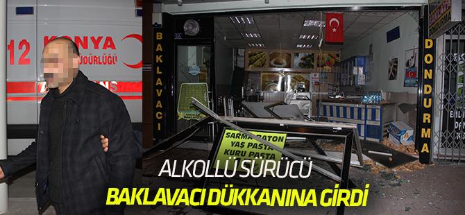 Konya'da alkollü sürücü otomobiliyle iş yerine girdi