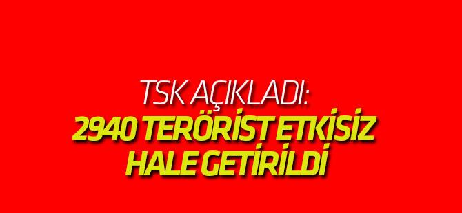 TSK: 2940 terörist etkisiz hale getirildi