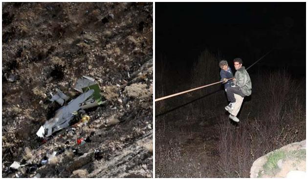 İran'da düşen özel jetin enkazından ilk görüntüler geldi!