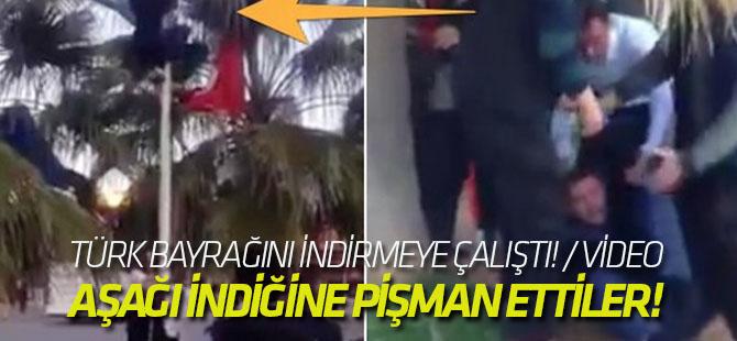 Direğe tırmanıp Türk bayrağını indirmeye çalıştı! / VİDEO