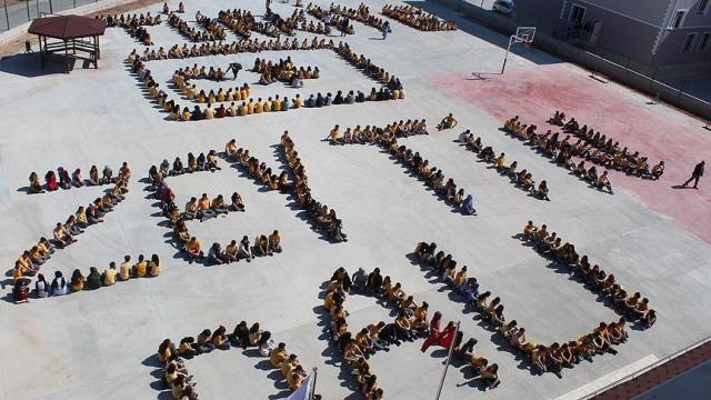 700 öğrenci bir araya gelerek Zeytin Dalı'ndan Türk bayrağı oluşturdu