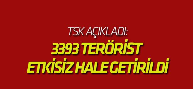 TSK: 3393 terörist etkisiz hale getirildi