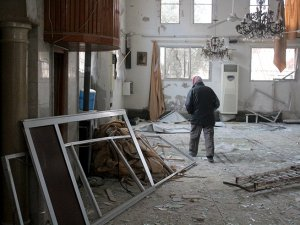 Doğu Guta'da Esed rejiminin yıktığı camide ezanlar susmuyor  VİDEO