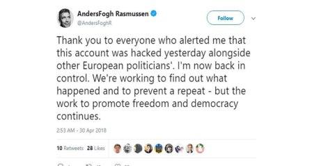 Eski NATO Genel Sekreterinin Twitter hesabı hacklendi