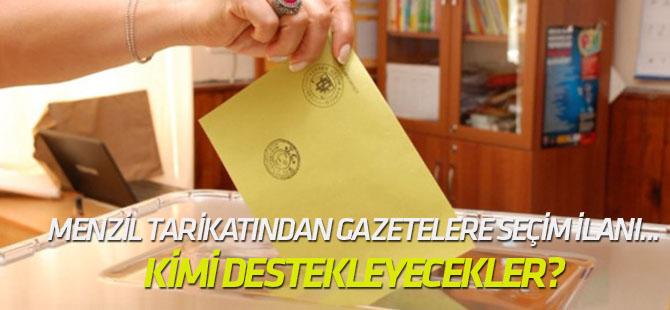 Menzil tarikatından gazetelere seçim ilanı...