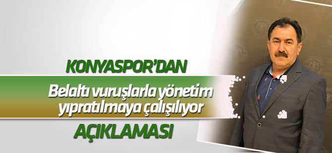 """Konyaspor'dan """"Bel altı vuruşlarla yönetim yıpratılmaya çalışılıyor"""" açıklaması"""