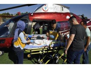Üzerine süt kazanı devrilen çocuk ağır yaralandı