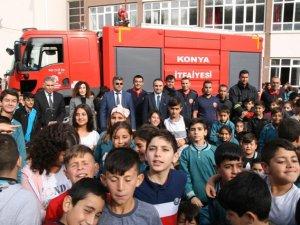 Kulu'daki ortaokulda yangın tatbikatı yapıldı