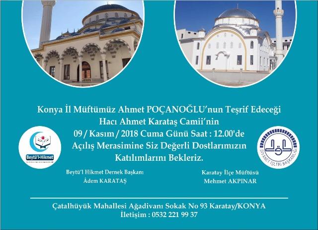Hacı Ahmet Karataş Camii açılıyor