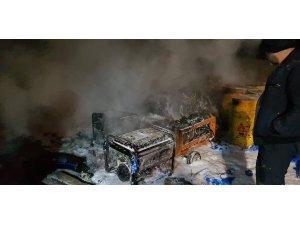 İnşaat halinde atıksu arıtma tesisinin depo kısmında yangın çıktı