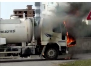 Alev alev yanan vidanjör bomba gibi patladı