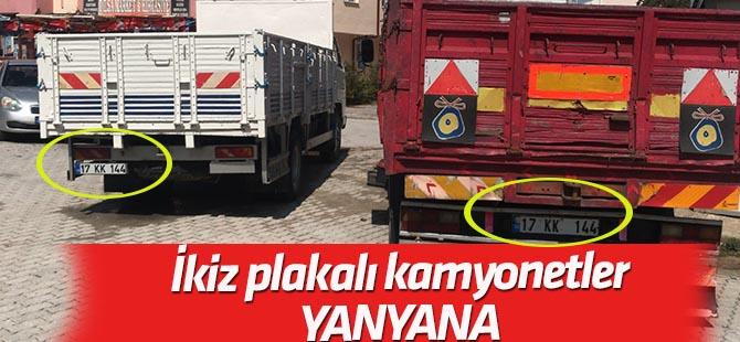 İkiz plakalı kamyonetler yan yana yakalandı