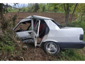 Otomobil yoldan çıkıp ağaca çarptı: 1 yaralı