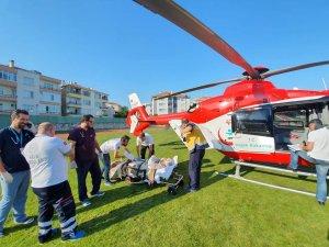 Ağır yaralı hastanın sevki helikopter ambulansla gerçekleşti