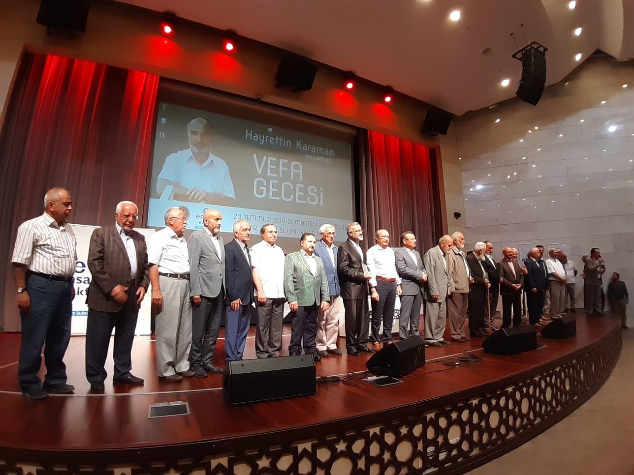 Konya'da Hayrettin Karaman'a vefa gecesi düzenlendi