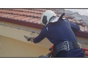 Ayağına ip dolanınca çatıda mahsur kalan kuş kurtarıldı