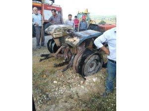 Konya'da tarla yangını! Traktör yangını