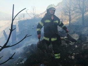 Denizli'de otluk arazide yangın