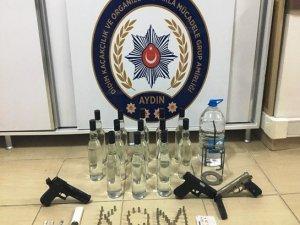 Didim'de kaçak içki ve uyuşturucu operasyonu