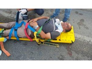 Otomobilin arkadan çarptığı motosiklet 50 metre ileriye fırladı