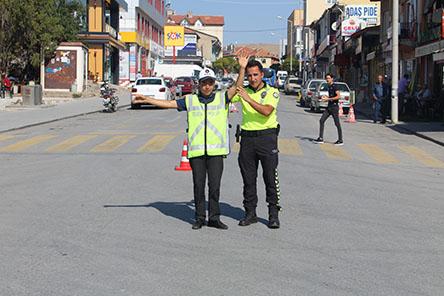 Yunak'ta engelli öğrenciler için trafik uygulaması