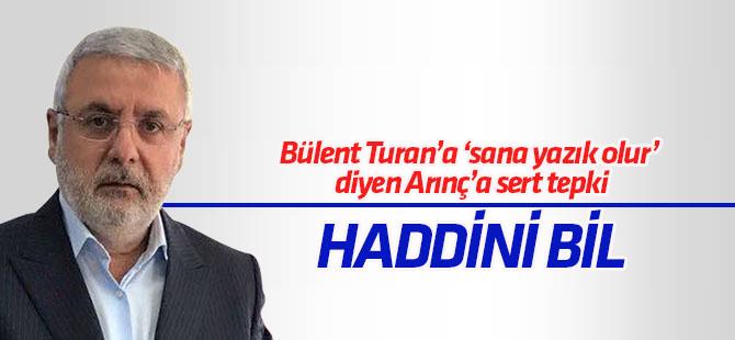 Metiner'den Arınç'a Bülent Turan tepkisi: Haddini bil