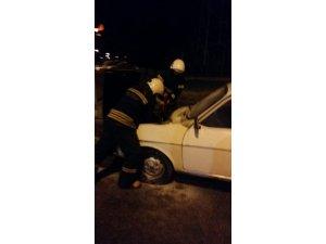 Erzincan'da araç yangını