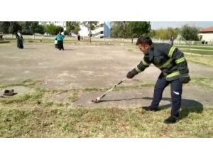 Aksaray'da çocuk parkında ortaya çıkan yılan korkuttu