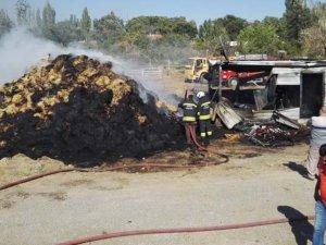 Seydişehir'de saman yangını