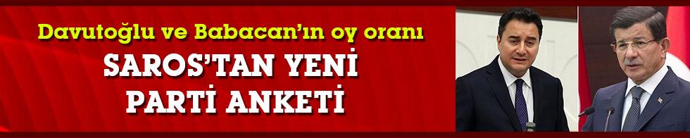 SAROS'tan çarpıcı yeni parti anketi: Davutoğlu ve Babacan'ın oy oranı!