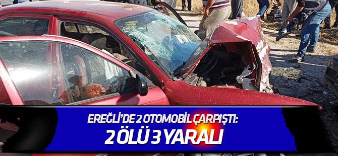 Ereğli'de 2 otomobil çarpıştı: 2 ölü, 3 yaralı