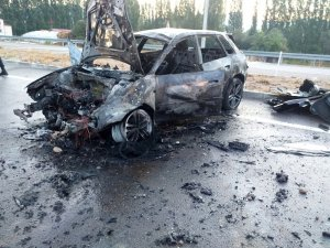 Konya'da devrilen otomobil alev aldı: 1 yaralı
