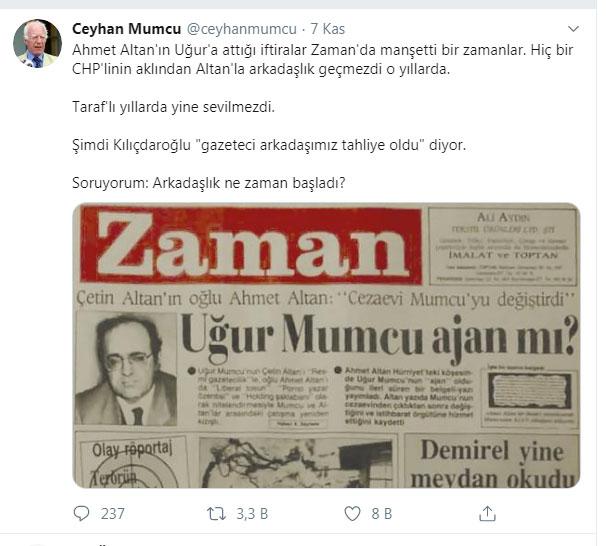 Ceyhan Mumcu'dan Kılıçdaroğlu'na  Ahmet Altan tepkisi