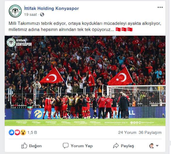Konyaspor'dan Milli Takıma tebrik