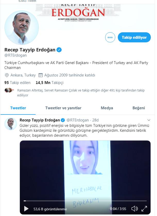 Cumhurbaşkanı Erdoğan Gülsüm Genç'le görüşmesini twitterda paylaştı