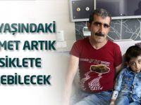 Beş yaşındaki Mehmet artık bisiklete binebilecek