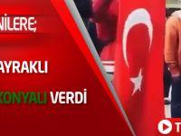 Ermenilere Türk bayraklı mesajı Konyalı verdi