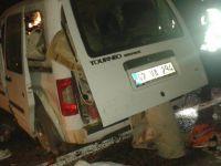 Hafif ticari araç domuz sürüsüne çarptı: 4 yaralı