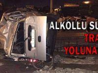 Konya'da allkollü sürücü takla attı